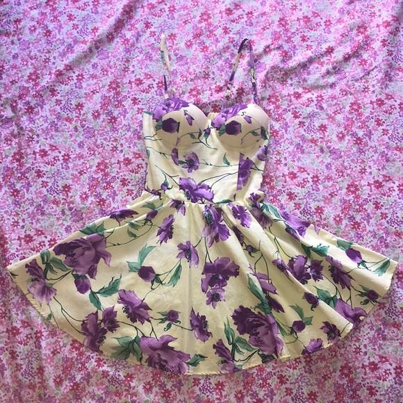Dresses yellow dress with purple flowers poshmark m5b4bb6c4d6dc52a027a73d8e mightylinksfo